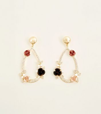 Gold Diamanté And Rose Teardrop Earrings by New Look