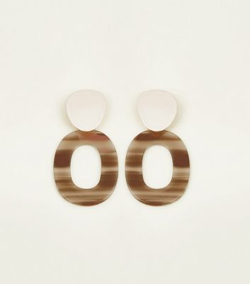 Brown Oval Drop Earrings by New Look