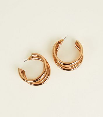 Gold Triple Huggie Hoop Earrings