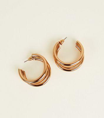 Gold Triple Huggie Hoop Earrings by New Look