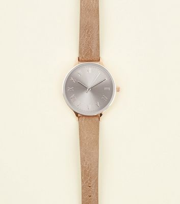 Dark Grey Leather-Look Tonal Dial Strap Watch