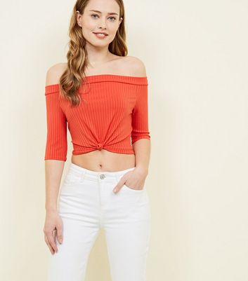 Pink Vanilla Bright Orange Ribbed Twist Front Top