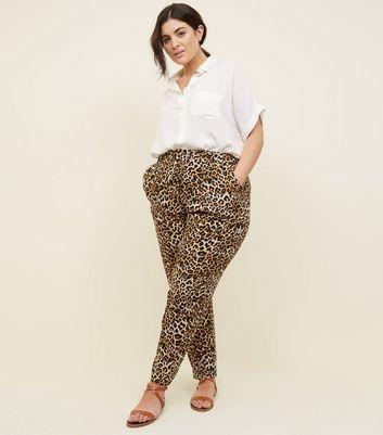 ... Curves Black Leopard Print Woven Joggers