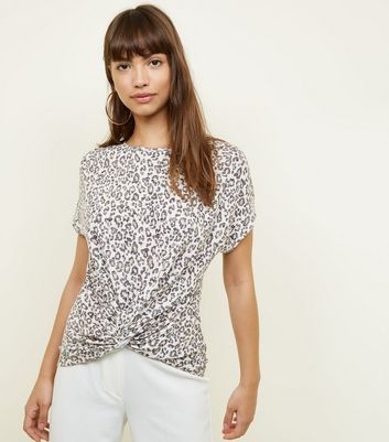 Brown Leopard Print Twist Front T-Shirt
