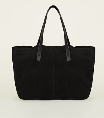 Black Suede Slouch Tote Bag by New Look
