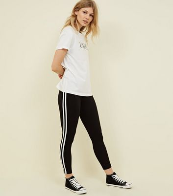 Petite Black Double Side Stripe Leggings