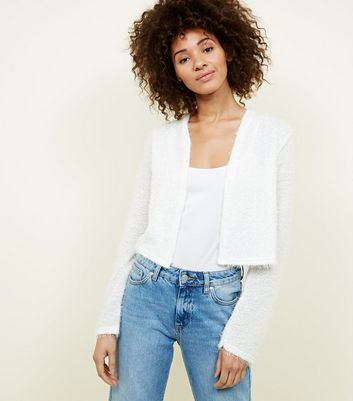 Off White Fluffy Cropped Cardigan