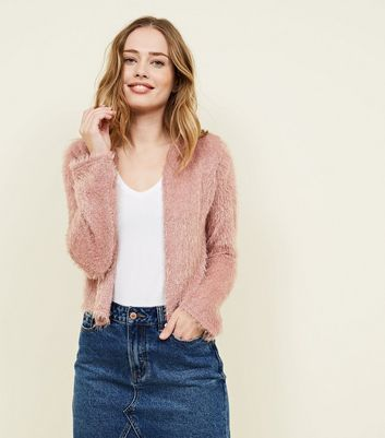 Pale Pink Fluffy Cropped Cardigan