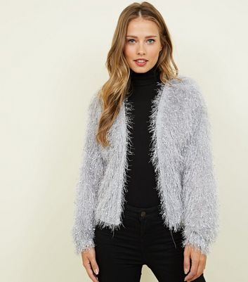 Pale Grey Fluffy Cardigan