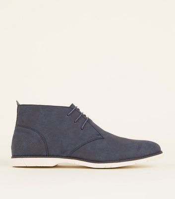 Navy Lace-Up Derby Boots
