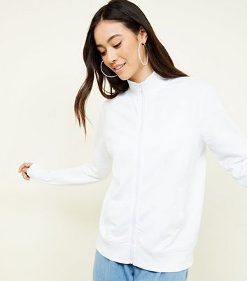 White Zip Front Sweatshirt