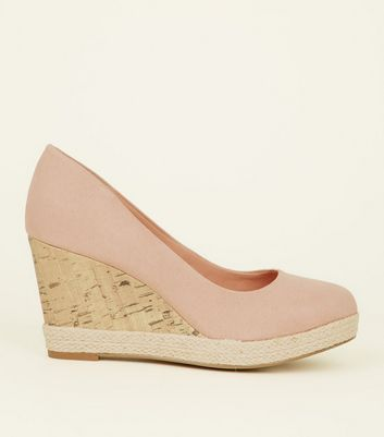 Nude Comfort Suedette Wedge Court Shoes