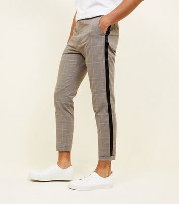 Stone Prince of Wales Check Tape Side Trousers