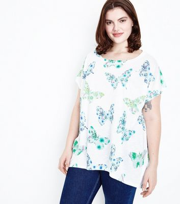 Blue Vanilla Curves White Butterfly Print T-Shirt