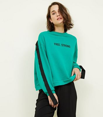 Cameo Rose Green Slogan Tape Sleeve Sweatshirt