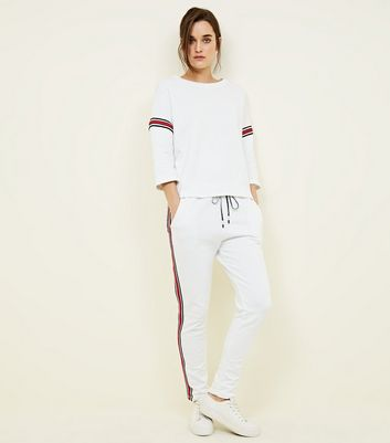 Cameo Rose White Stripe Tape Side Joggers