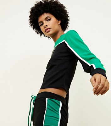 Cameo Rose Green Colour Block Crop Sweatshirt