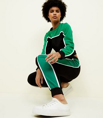 Cameo Rose Green Colour Block Joggers