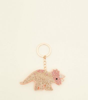 Orange Triceratops Diamanté Keyring by New Look