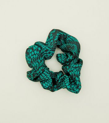 Green Snake Print Scrunchie