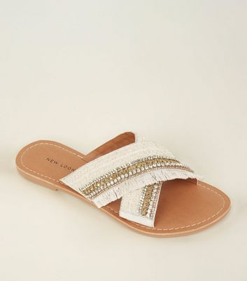 Off White Crystal Tassel Trim Cross Strap Mules