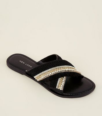 Black Bead And Tassel Cross Strap Sliders by New Look