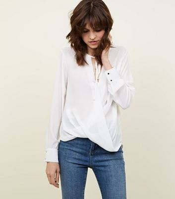Off White Tie Neck Wrap Front Blouse
