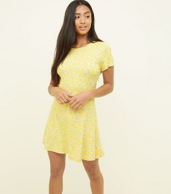 Petite Yellow Ditsy Floral Cap Sleeve Swing Dress