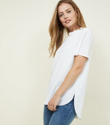 Off White Frill Neck Step Hem Top by New Look