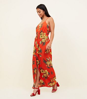 Petite Red Floral Button Front Maxi Dress