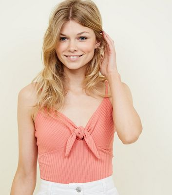 Petite Coral Ribbed Tie Front Cami
