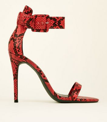 Red Faux Snakeskin Ankle Strap Stiletto Sandals
