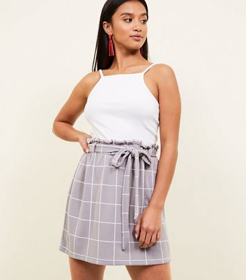 Petite Grey Check Paperbag Waist Mini Skirt