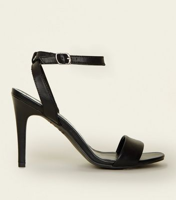 Black Leather Strap Two Part Stiletto Sandals