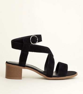 Black Suede Multi Strap Block Heel Sandals