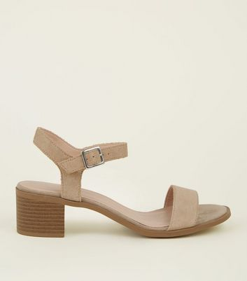 Light Brown Suede Two Part Block Heel Sandals