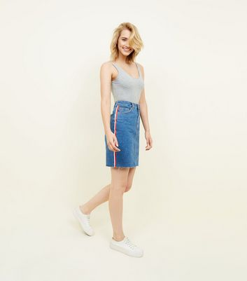 Tall Blue Side Stripe Denim Mini Skirt