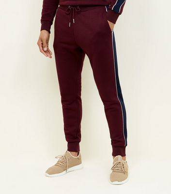 Burgundy Side Stripe Joggers