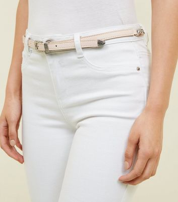 Nude Leather-Look Skinny Western Chain Hip Belt