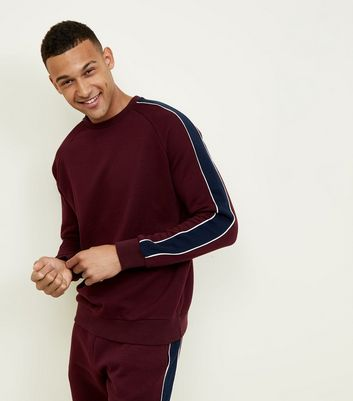 Burgundy Side Stripe Crew Neck Sweatshirt