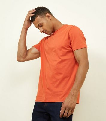 T-shirt orange à col choker
