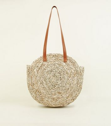 Stone Circle Straw Beach Bag
