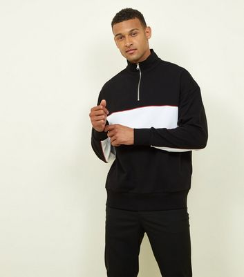 Black Half Zip Panelled Sweatshirt