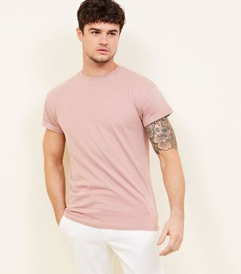 Mid Pink Rolled Sleeve T-Shirt