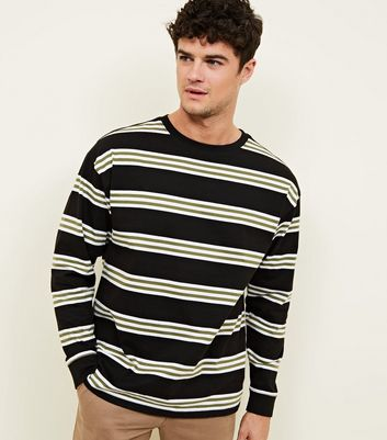 Black Stripe Long Sleeve Oversized Top