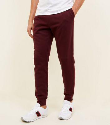 Burgundy Ribbed Cuff Joggers