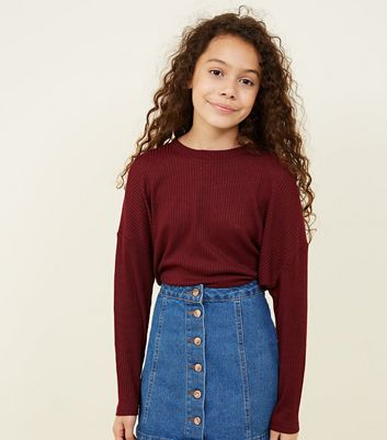 Girls Burgundy Fine Knit Batwing Sleeve Top