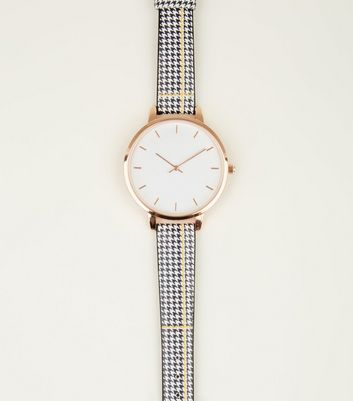 Monochrome Check Strap Watch
