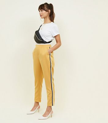 Mustard Side Stripe Slim Leg Trousers