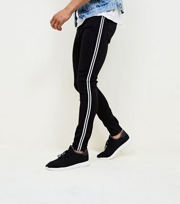 Black Side Stripe Stretch Skinny Jeans